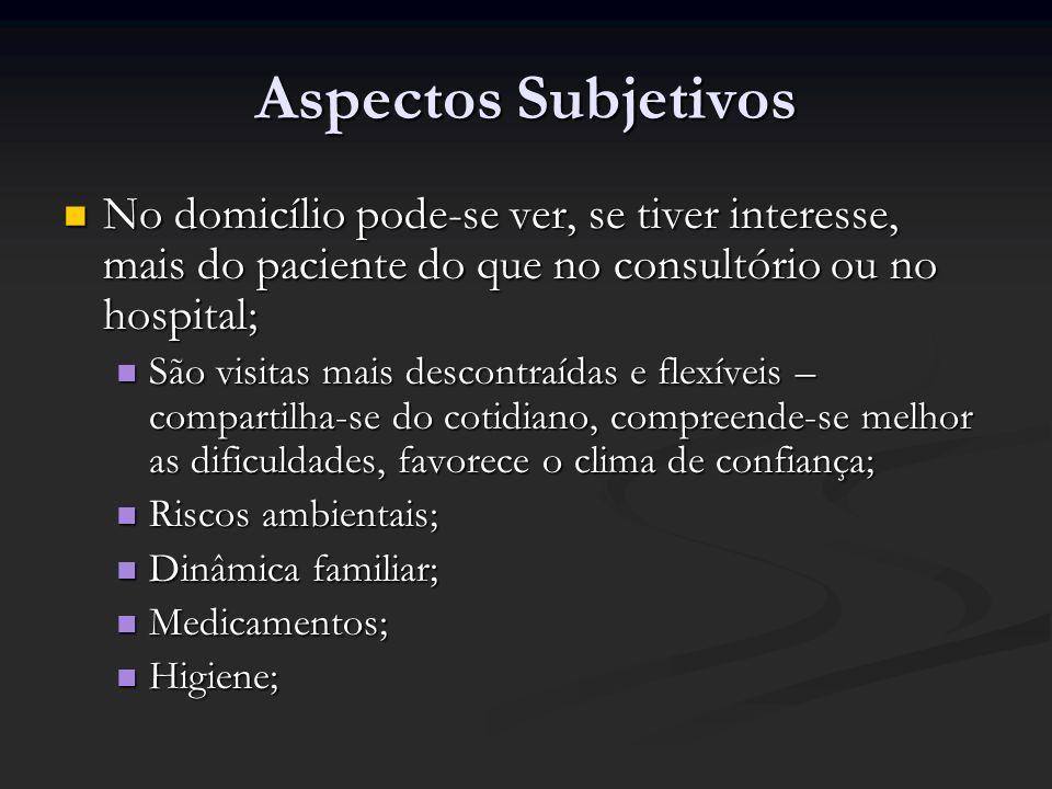 Aspectos SubjetivosNo domicílio pode-se ver, se tiver interesse, mais do paciente do que no consultório ou no hospital;