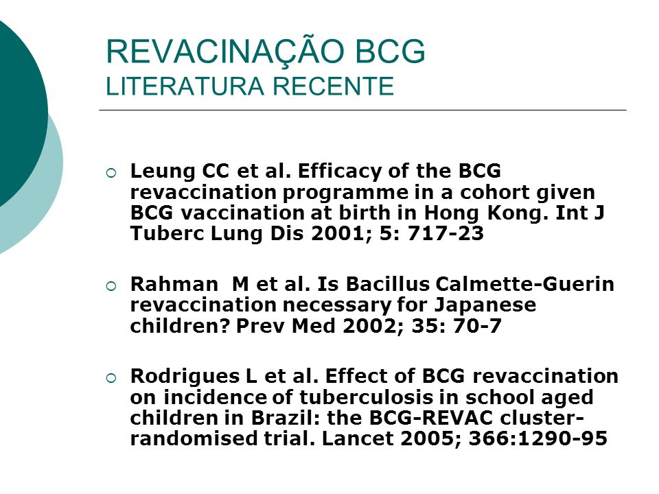 REVACINAÇÃO BCG LITERATURA RECENTE