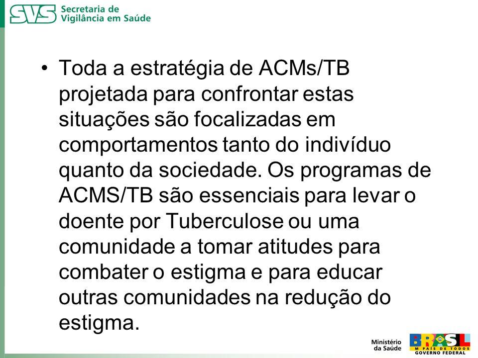Toda a estratégia de ACMs/TB projetada para confrontar estas situações são focalizadas em comportamentos tanto do indivíduo quanto da sociedade.