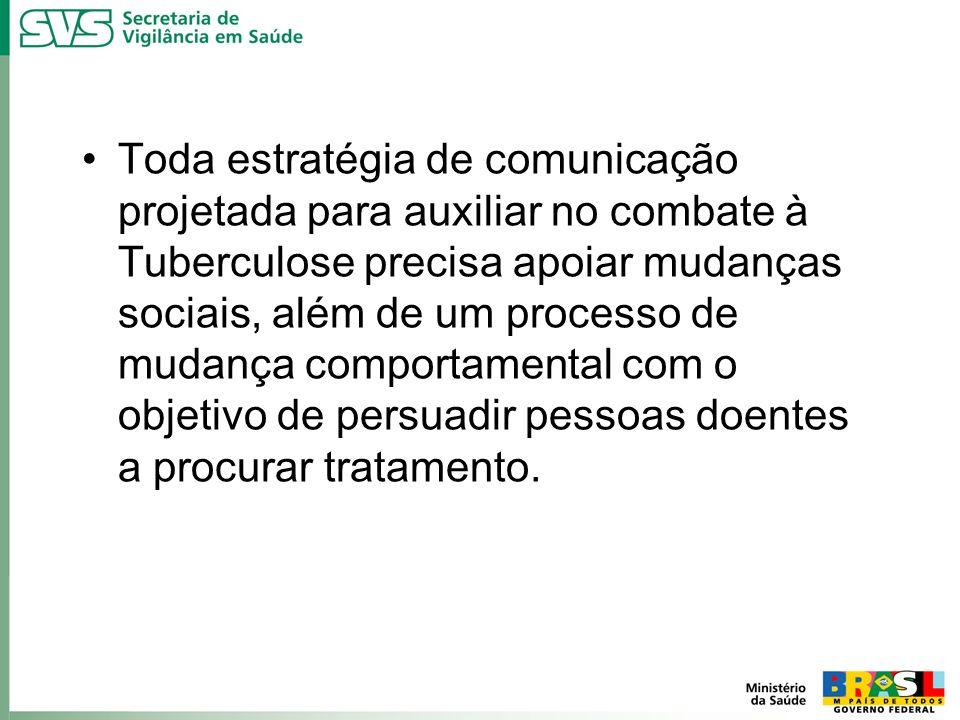 Toda estratégia de comunicação projetada para auxiliar no combate à Tuberculose precisa apoiar mudanças sociais, além de um processo de mudança comportamental com o objetivo de persuadir pessoas doentes a procurar tratamento.