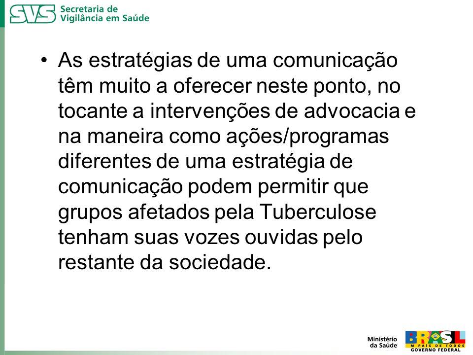 As estratégias de uma comunicação têm muito a oferecer neste ponto, no tocante a intervenções de advocacia e na maneira como ações/programas diferentes de uma estratégia de comunicação podem permitir que grupos afetados pela Tuberculose tenham suas vozes ouvidas pelo restante da sociedade.