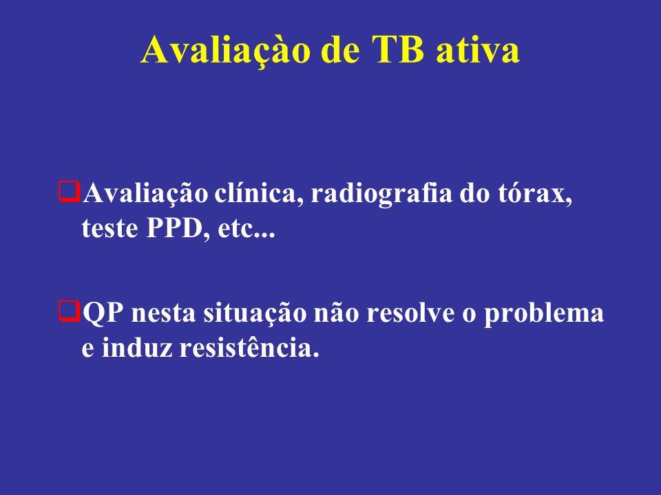 Avaliaçào de TB ativa Avaliação clínica, radiografia do tórax, teste PPD, etc...