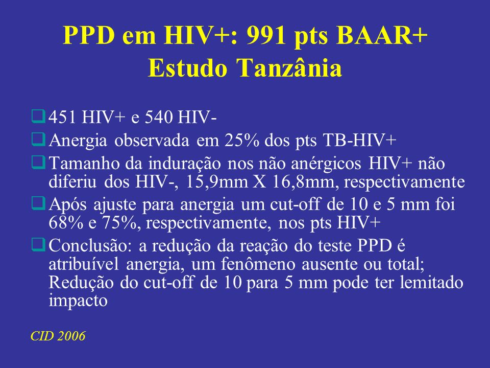 PPD em HIV+: 991 pts BAAR+ Estudo Tanzânia