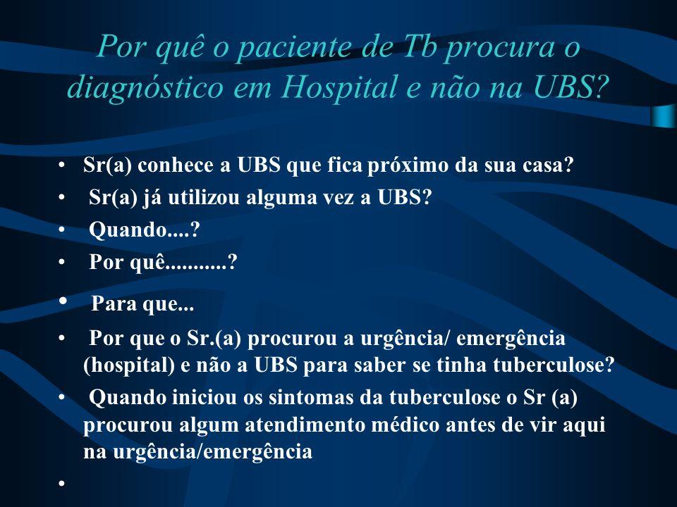 Por quê o paciente de Tb procura o diagnóstico em Hospital e não na UBS