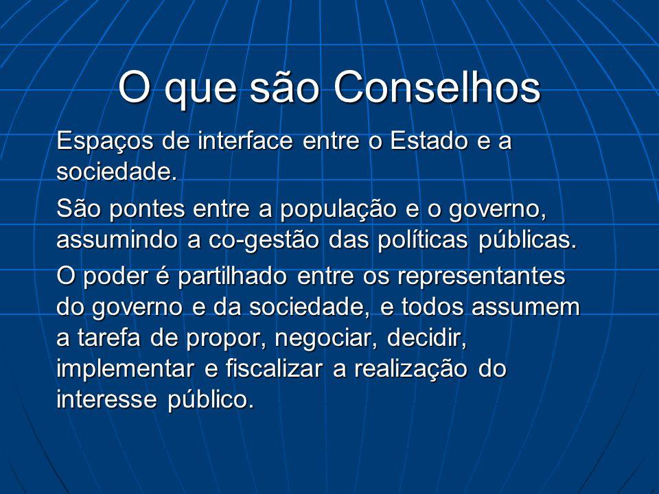 O que são Conselhos Espaços de interface entre o Estado e a sociedade.