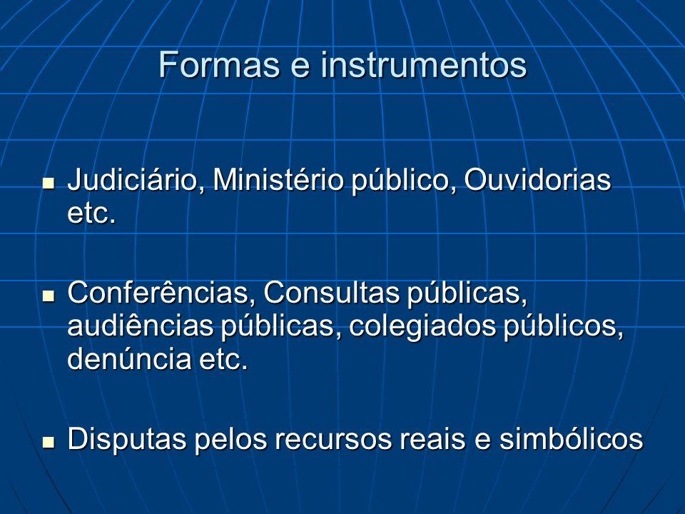 Formas e instrumentos Judiciário, Ministério público, Ouvidorias etc.