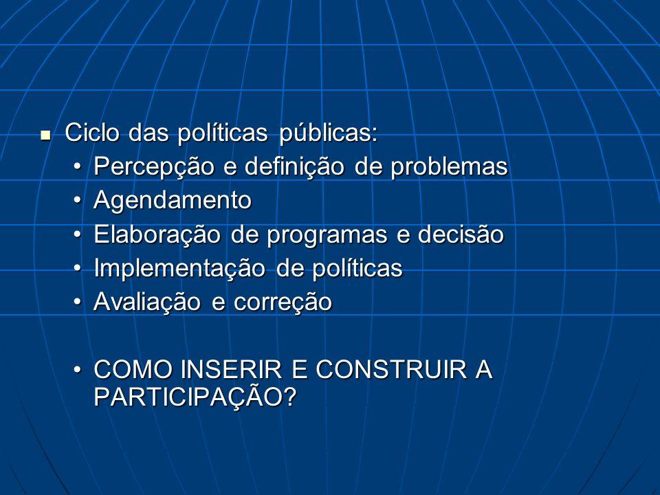 Ciclo das políticas públicas: