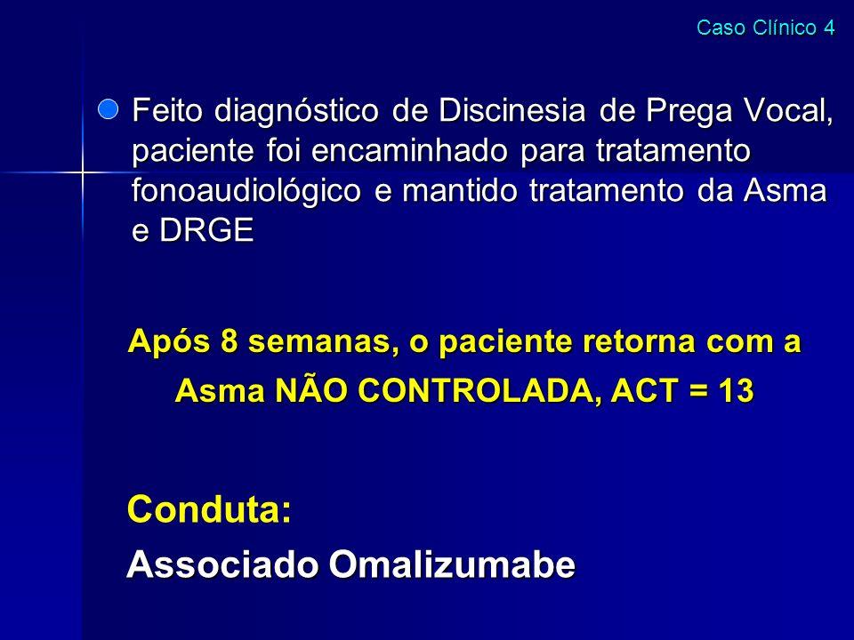 Após 8 semanas, o paciente retorna com a Asma NÃO CONTROLADA, ACT = 13