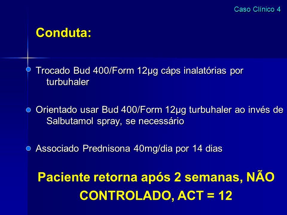 Paciente retorna após 2 semanas, NÃO CONTROLADO, ACT = 12