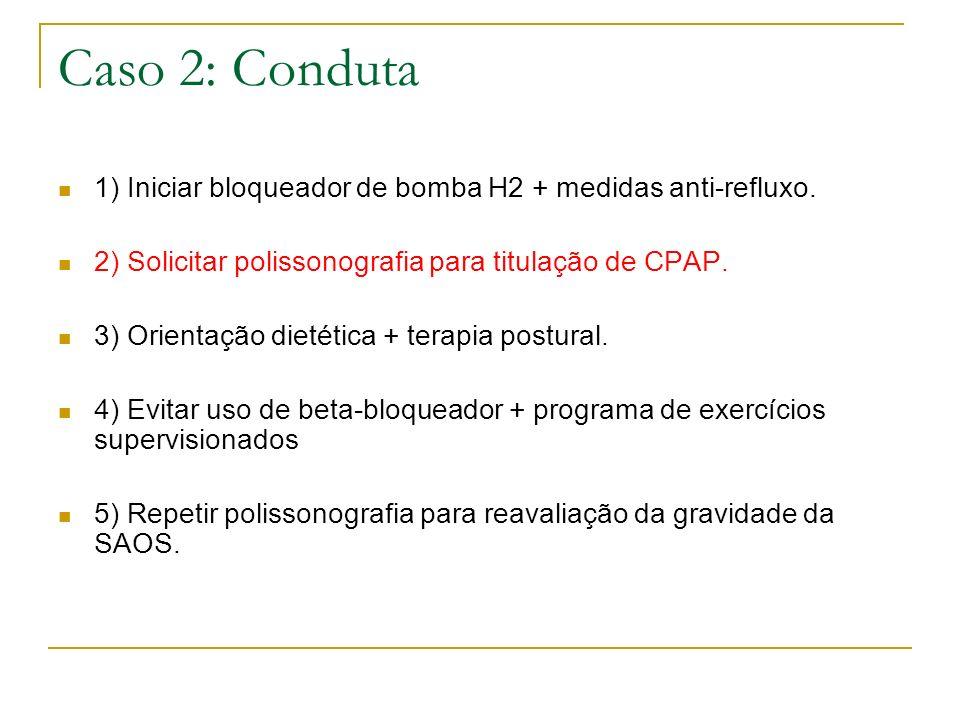 Caso 2: Conduta1) Iniciar bloqueador de bomba H2 + medidas anti-refluxo. 2) Solicitar polissonografia para titulação de CPAP.