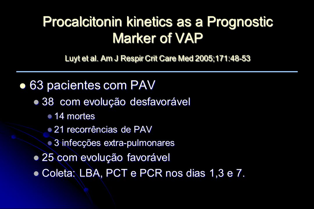 Procalcitonin kinetics as a Prognostic Marker of VAP Luyt et al