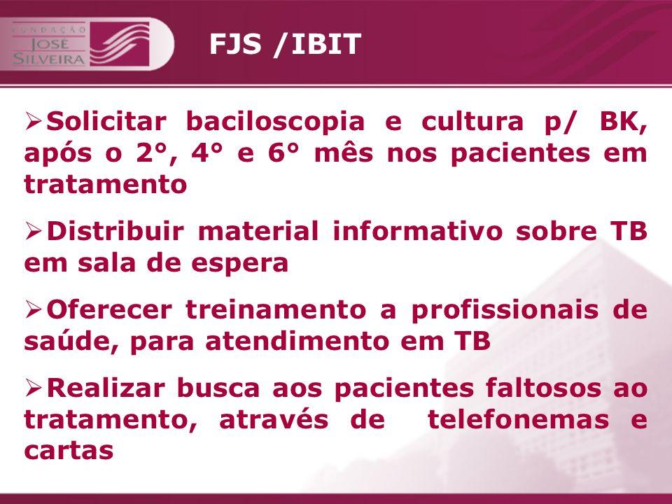 FJS /IBIT Solicitar baciloscopia e cultura p/ BK, após o 2°, 4° e 6° mês nos pacientes em tratamento.