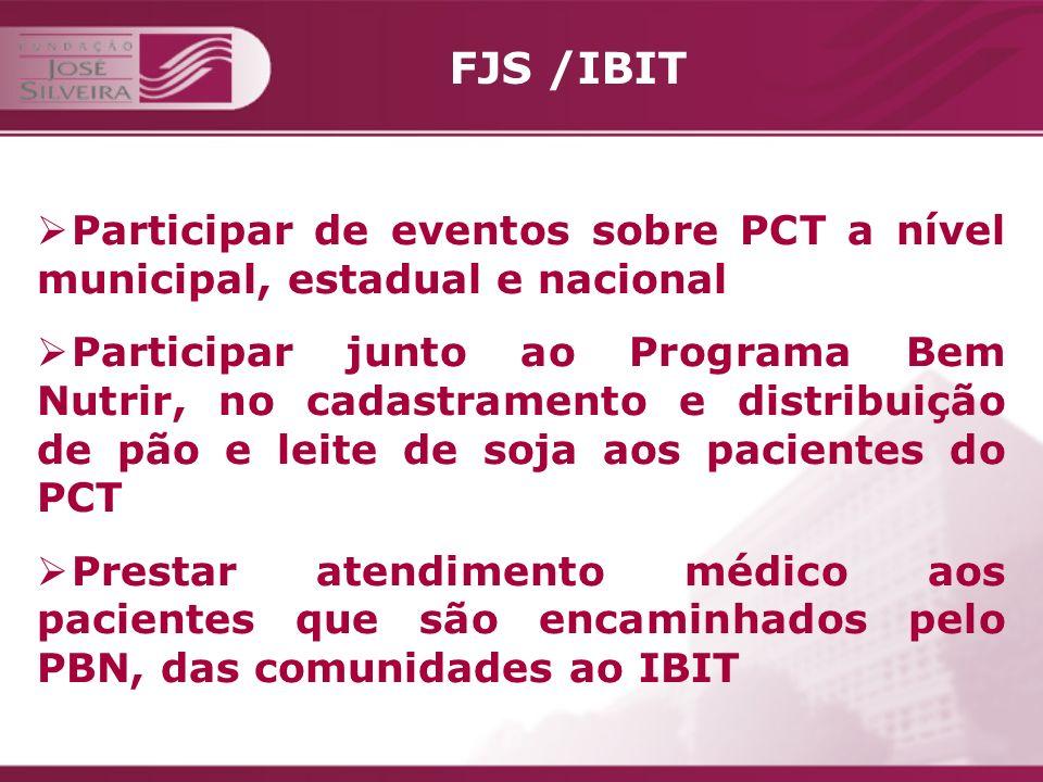 FJS /IBIT Participar de eventos sobre PCT a nível municipal, estadual e nacional.