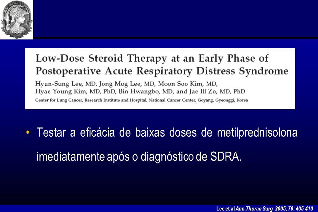 Testar a eficácia de baixas doses de metilprednisolona imediatamente após o diagnóstico de SDRA.