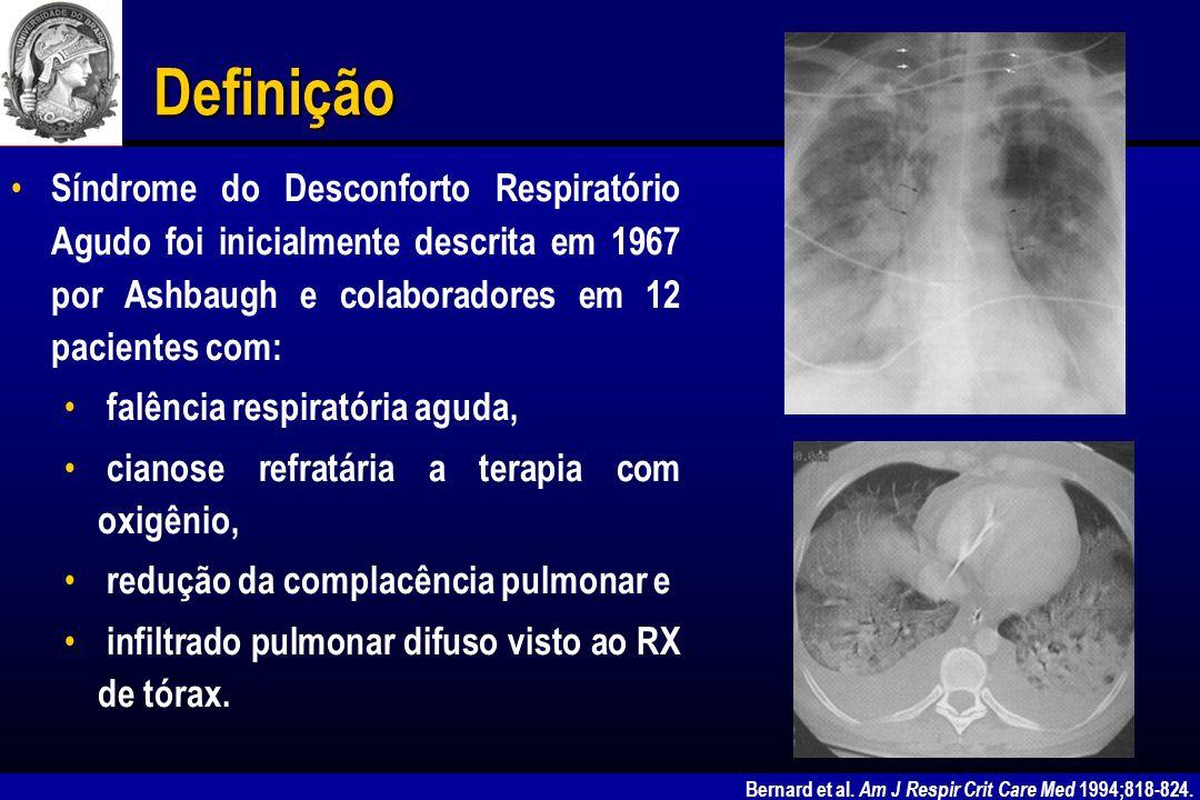 Definição Síndrome do Desconforto Respiratório Agudo foi inicialmente descrita em 1967 por Ashbaugh e colaboradores em 12 pacientes com: