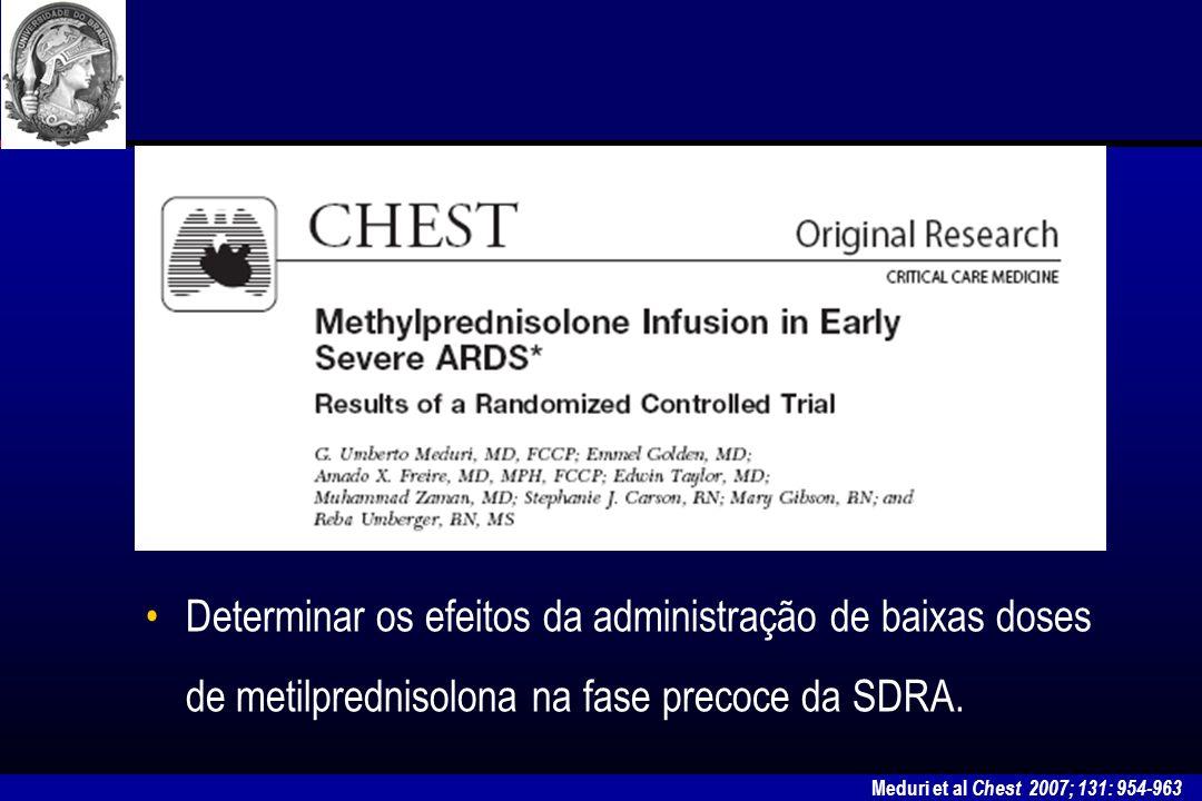 Determinar os efeitos da administração de baixas doses de metilprednisolona na fase precoce da SDRA.