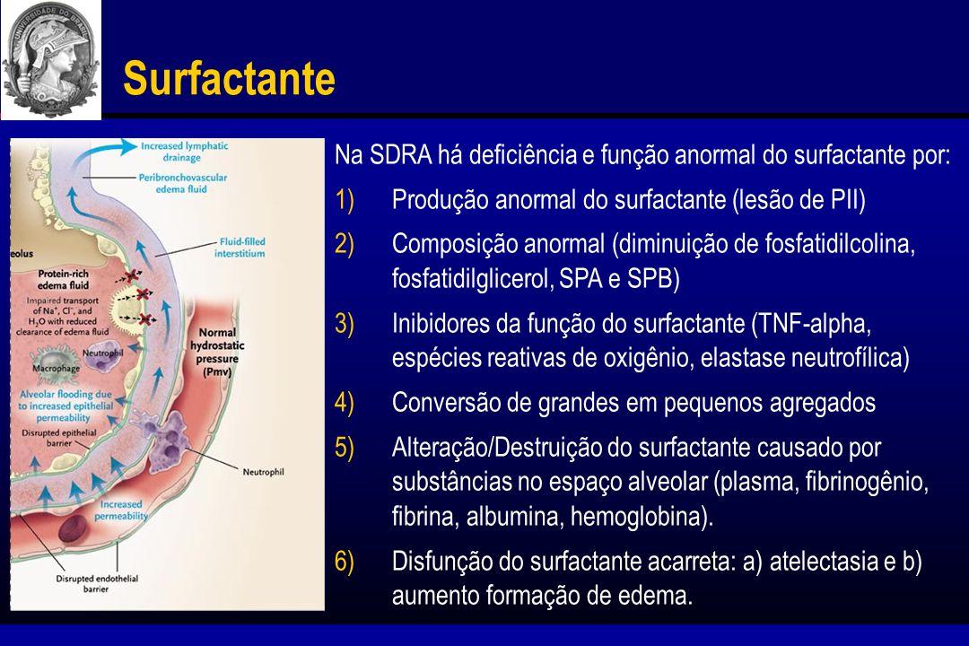 Surfactante Na SDRA há deficiência e função anormal do surfactante por: Produção anormal do surfactante (lesão de PII)