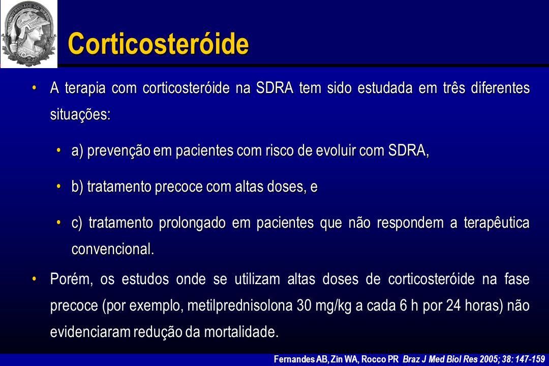 Corticosteróide A terapia com corticosteróide na SDRA tem sido estudada em três diferentes situações:
