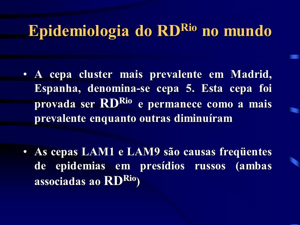Epidemiologia do RDRio no mundo