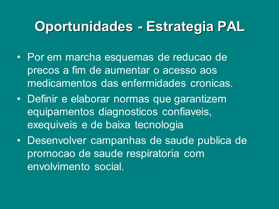 Oportunidades - Estrategia PAL