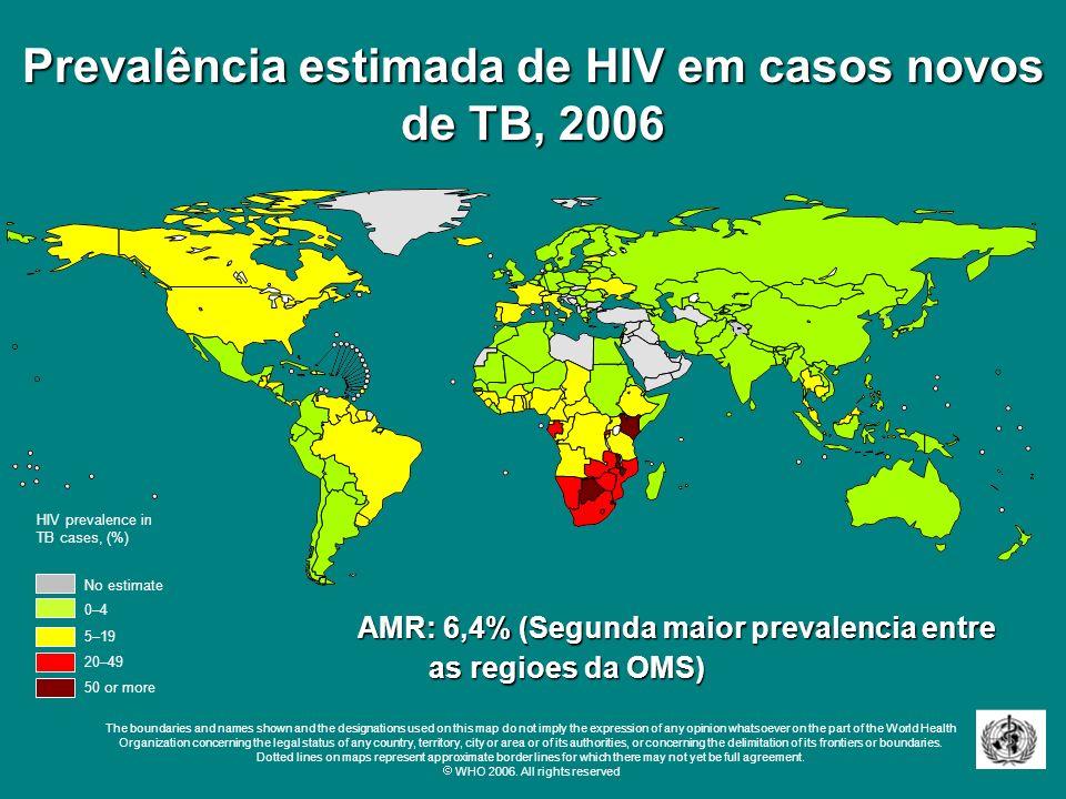 Prevalência estimada de HIV em casos novos de TB, 2006