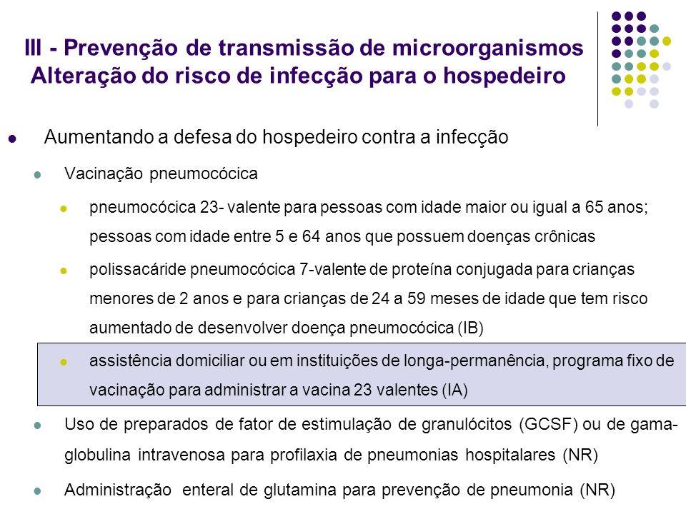 III - Prevenção de transmissão de microorganismos Alteração do risco de infecção para o hospedeiro