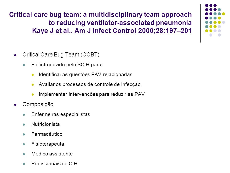 Critical care bug team: a multidisciplinary team approach to reducing ventilator-associated pneumonia Kaye J et al.. Am J Infect Control 2000;28:197–201