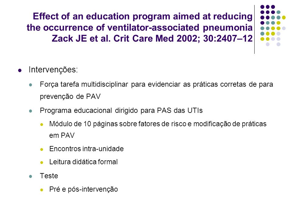 Effect of an education program aimed at reducing the occurrence of ventilator-associated pneumonia Zack JE et al. Crit Care Med 2002; 30:2407–12