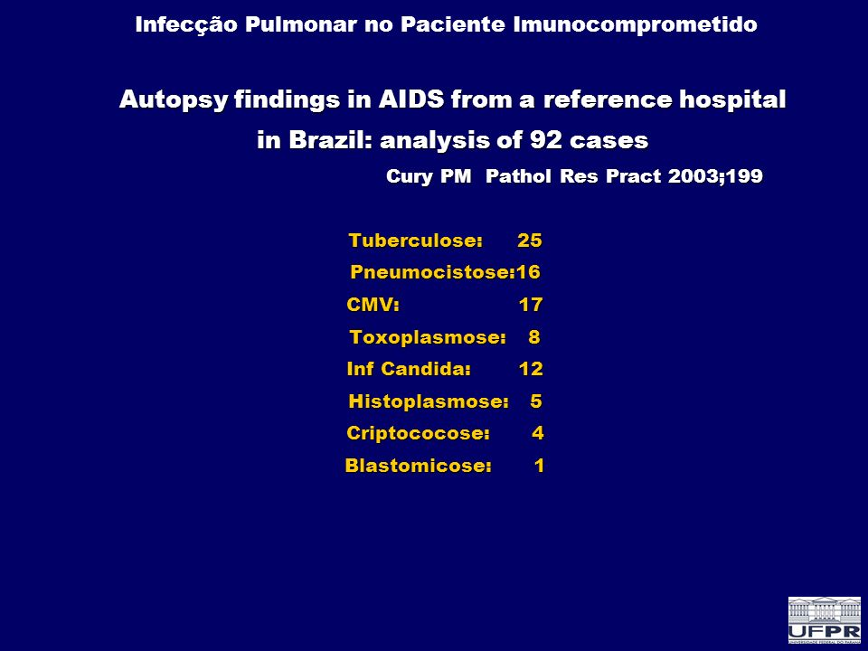 Autopsy findings in AIDS from a reference hospital in Brazil: analysis of 92 cases Cury PM Pathol Res Pract 2003;199 Tuberculose: 25 Pneumocistose:16 CMV: 17 Toxoplasmose: 8 Inf Candida: 12 Histoplasmose: 5 Criptococose: 4 Blastomicose: 1
