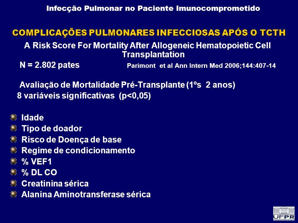 COMPLICAÇÕES PULMONARES INFECCIOSAS APÓS O TCTH
