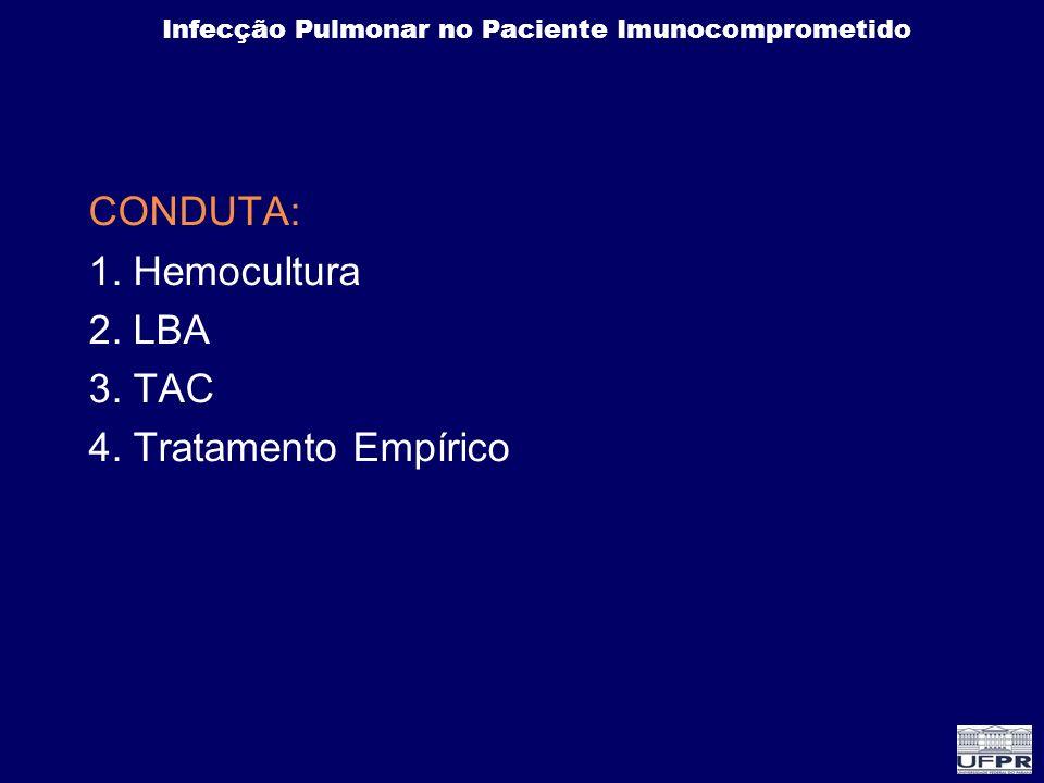 CONDUTA: 1. Hemocultura 2. LBA 3. TAC 4. Tratamento Empírico