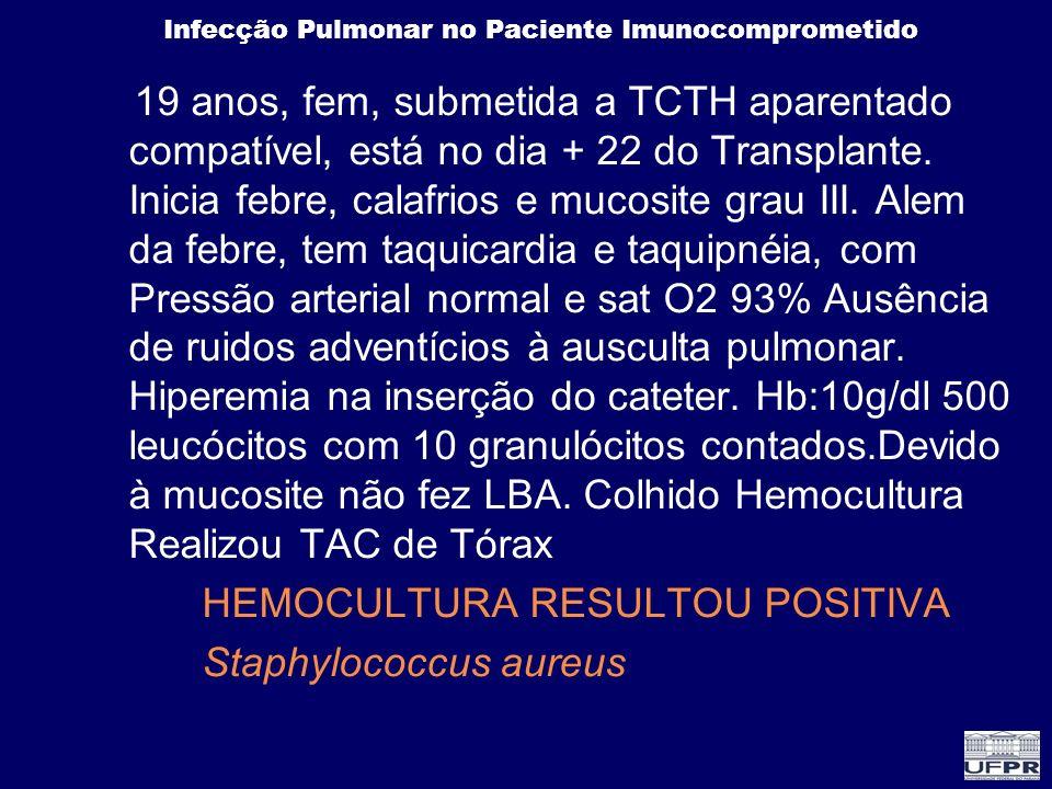 19 anos, fem, submetida a TCTH aparentado compatível, está no dia + 22 do Transplante. Inicia febre, calafrios e mucosite grau III. Alem da febre, tem taquicardia e taquipnéia, com Pressão arterial normal e sat O2 93% Ausência de ruidos adventícios à ausculta pulmonar. Hiperemia na inserção do cateter. Hb:10g/dl 500 leucócitos com 10 granulócitos contados.Devido à mucosite não fez LBA. Colhido Hemocultura Realizou TAC de Tórax
