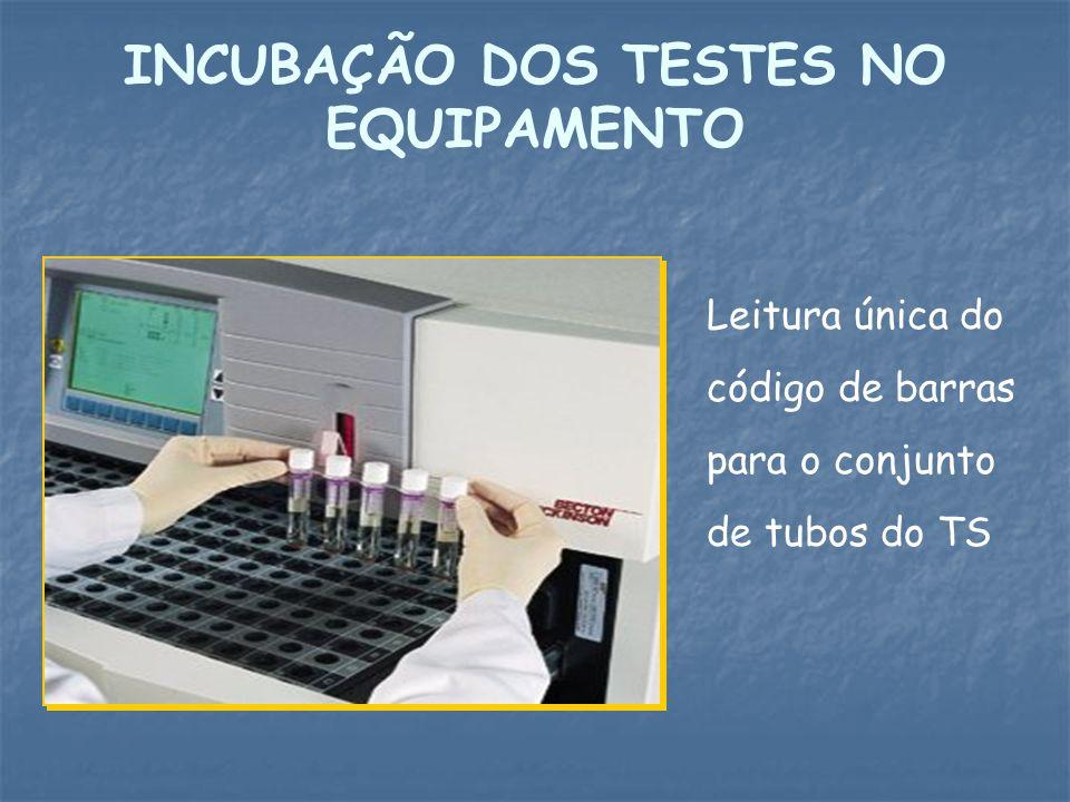 INCUBAÇÃO DOS TESTES NO EQUIPAMENTO