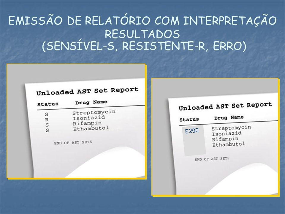 EMISSÃO DE RELATÓRIO COM INTERPRETAÇÃO RESULTADOS