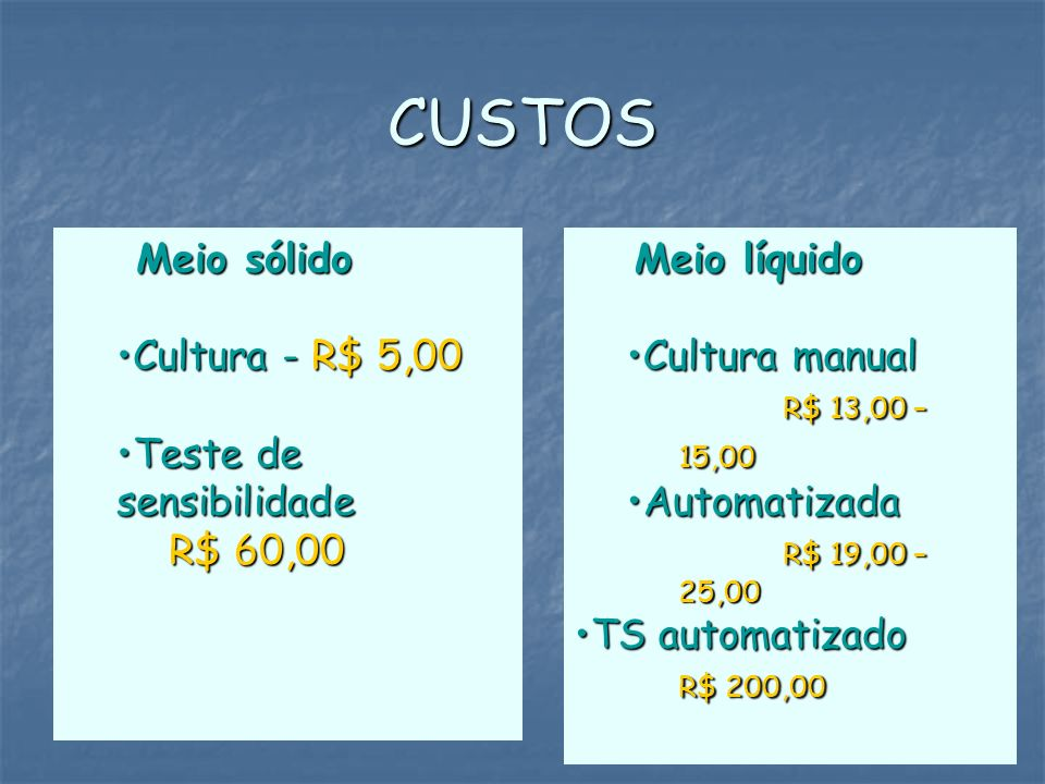CUSTOS Meio sólido Cultura - R$ 5,00 Teste de sensibilidade R$ 60,00