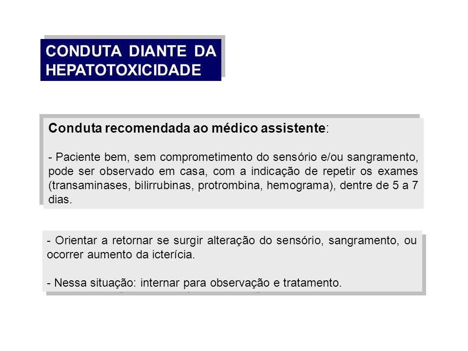CONDUTA DIANTE DA HEPATOTOXICIDADE
