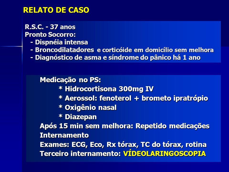 RELATO DE CASO Medicação no PS: * Hidrocortisona 300mg IV