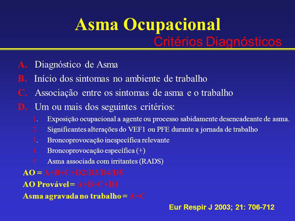 Asma Ocupacional Critérios Diagnósticos A. Diagnóstico de Asma