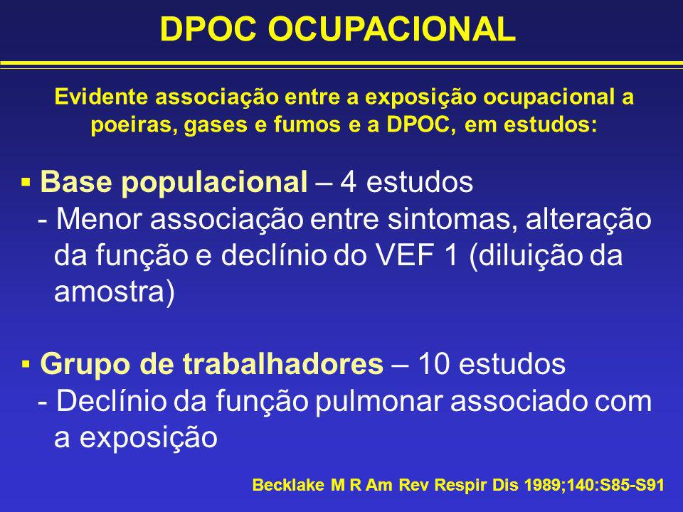 DPOC OCUPACIONAL ▪ Base populacional – 4 estudos