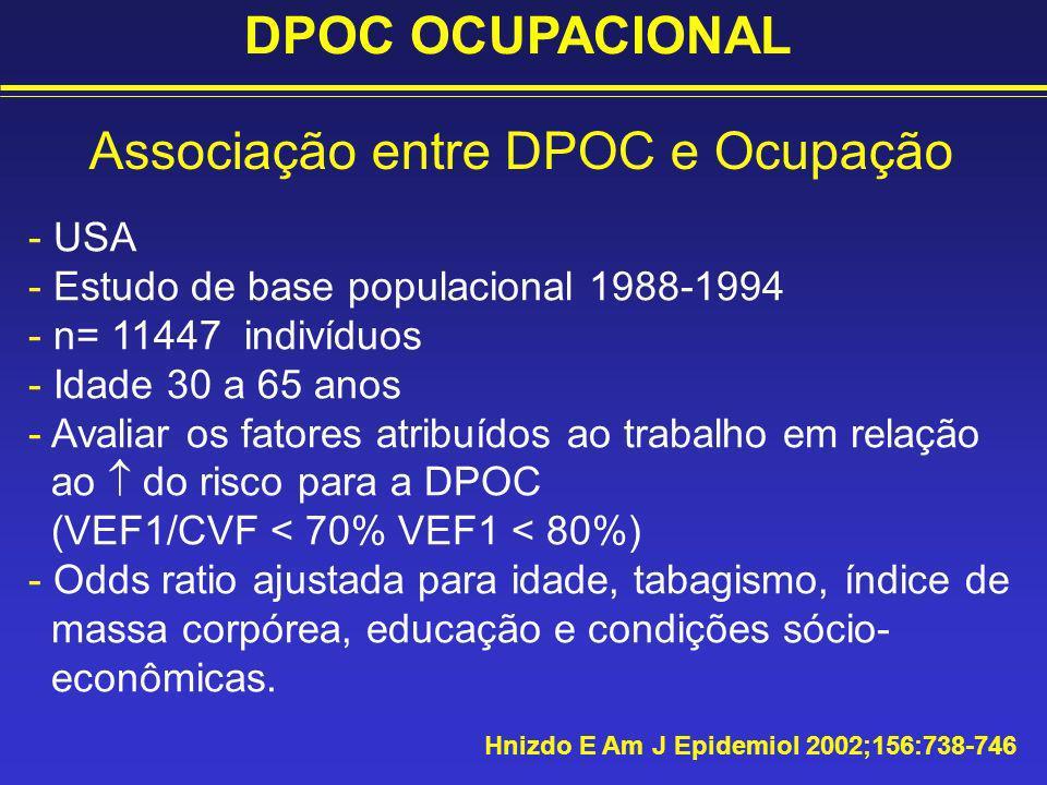 Associação entre DPOC e Ocupação