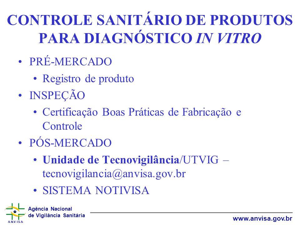 CONTROLE SANITÁRIO DE PRODUTOS PARA DIAGNÓSTICO IN VITRO
