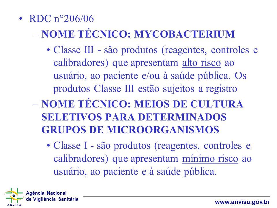RDC n°206/06 NOME TÉCNICO: MYCOBACTERIUM.
