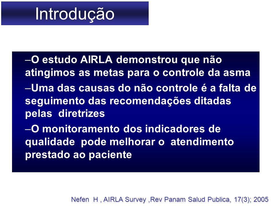 Introdução O estudo AIRLA demonstrou que não atingimos as metas para o controle da asma.