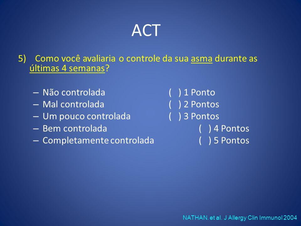 ACT 5) Como você avaliaria o controle da sua asma durante as últimas 4 semanas Não controlada ( ) 1 Ponto.