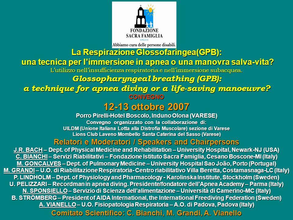 12-13 ottobre 2007 La Respirazione Glossofaringea(GPB):