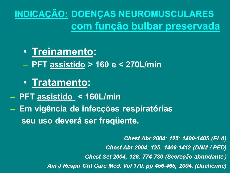 INDICAÇÃO: DOENÇAS NEUROMUSCULARES com função bulbar preservada