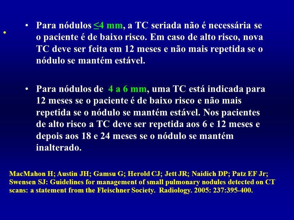 Para nódulos ≤4 mm, a TC seriada não é necessária se o paciente é de baixo risco. Em caso de alto risco, nova TC deve ser feita em 12 meses e não mais repetida se o nódulo se mantém estável.