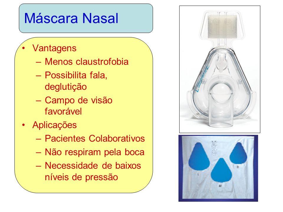 Máscara Nasal Vantagens Menos claustrofobia