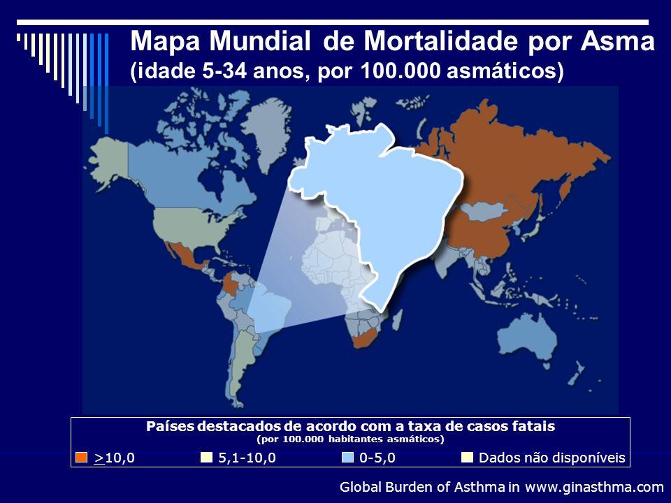 Mapa Mundial de Mortalidade por Asma (idade 5-34 anos, por 100