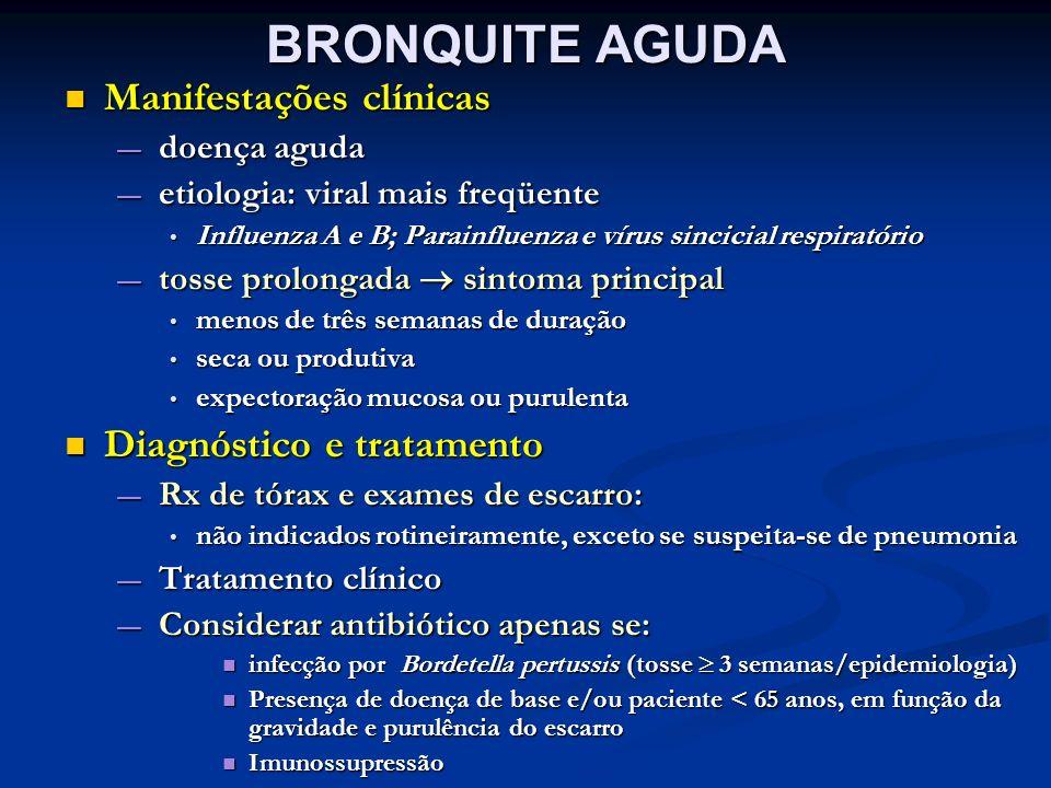 BRONQUITE AGUDA Manifestações clínicas Diagnóstico e tratamento